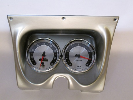"67-68 Camaro 2-Hole Brushed Aluminum Classic Dash with American Muscle Autometer 5"" Speedo & Tach"