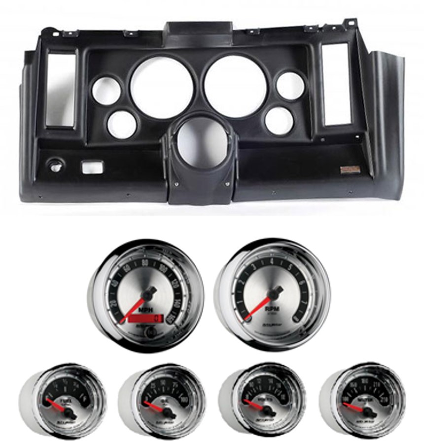 69 Camaro Classic Dash 6 Hole Black Panel with American Muscle Gauges