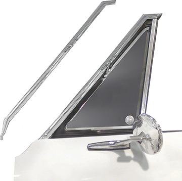 67 Camaro Front Vent Window Chrome Pillar Moldings, Pair