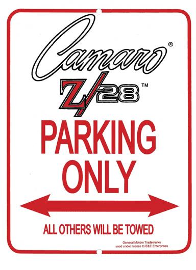 Camaro Z/28 Parking Only Sign
